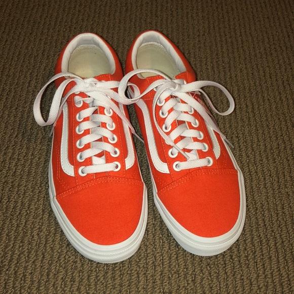 Brand New Custom Orange Lace Up Vans